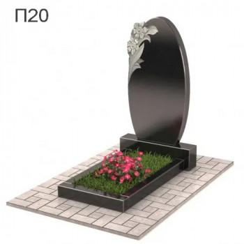 Овал с цветами вертикальный памятник П20