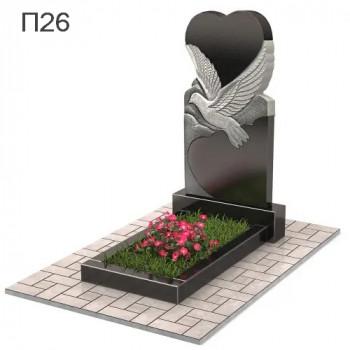 Голубь с сердцем вертикальный памятник П26
