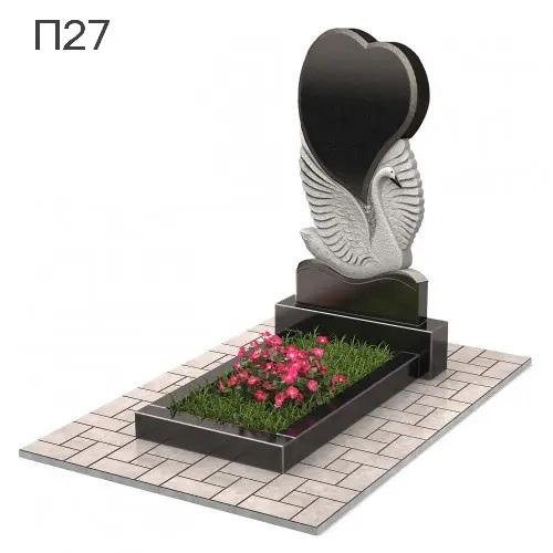 Лебедь с сердцем вертикальный памятник П27