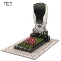 Лебедь с цветами вертикальный памятник П29