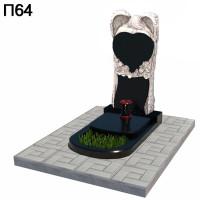 Скорбящий ангел с сердцем вертикальный памятник П64