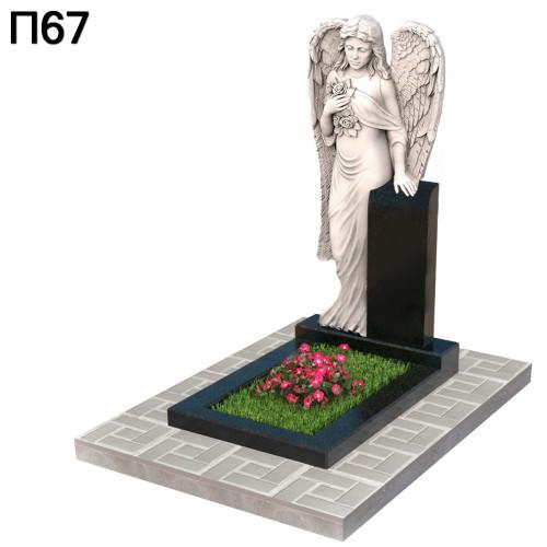 Ангел с розами вертикальный памятник П67