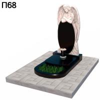 Скорбящий ангел с крестом вертикальный памятник П68