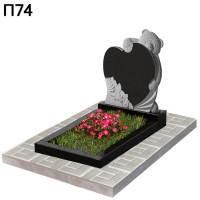 Мишка с сердцем детский вертикальный памятник П74