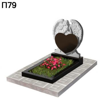 Скорбящий ангел с сердцем вертикальный-горизонтальный памятник П79