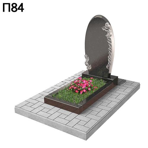 Вертикальный памятник зеркало с розами П84