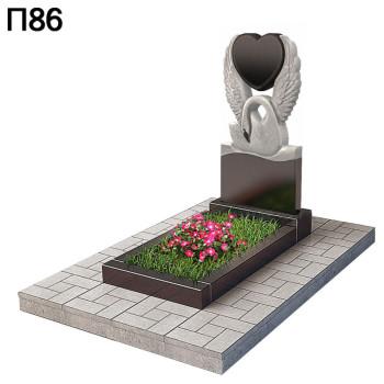 Вертикальный памятник лебедь с сердцем-2 П86