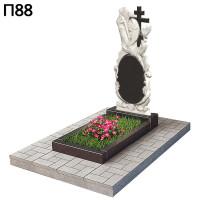 Вертикальный памятник ангел с крестом П88