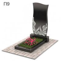 Волна с цветами вертикальный памятник П9