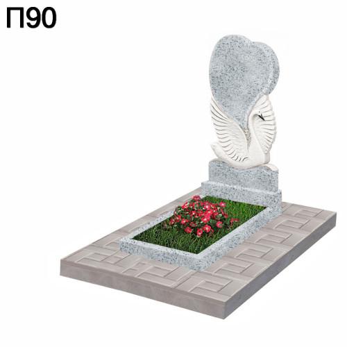 Лебедь с сердцем вертикальный памятник П90