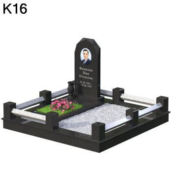 Мемориальный комплекс из 2-двух видов черного карельского и светлого мансуровского гранита К16