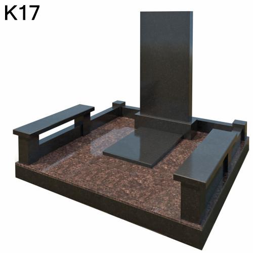 Классический мемориальный комплекс из 2-х видов черного карельского и коричневого дымовского гранита К17