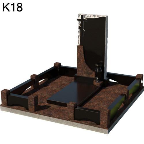 Классический мемориальный комплекс из 2-х видов черного карельского и коричневого дымовского гранита К18