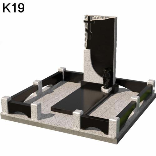 Классический мемориальный комплекс из 2-х видов черного карельского и светлого гранита К19