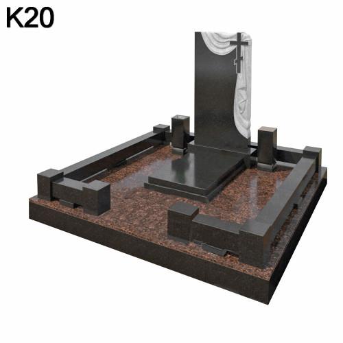 Классический фигурный мемориальный комплекс из 2-х видов черного карельского и коричневого дымовского гранита К20
