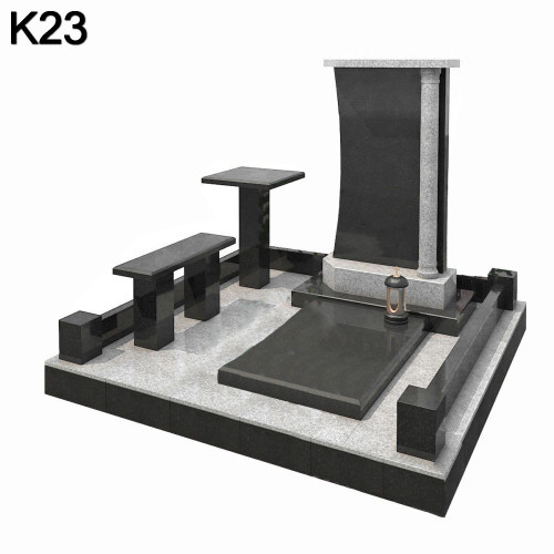 Классический мемориальный комплекс из 2-х видов гранита черного карельского гранита и светлого гранита К23