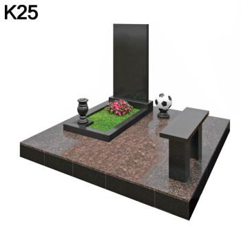 Классический мемориальный комплекс из 2-х видов черного карельского и коричневого дымовского гранита К25