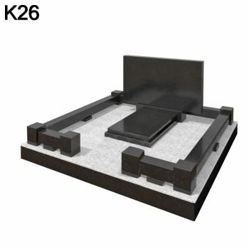 Классический прямоугольный мемориальный комплекс из черного карельского гранита К26