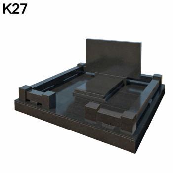 Классический прямоугольный мемориальный комплекс из черного карельского гранита К27