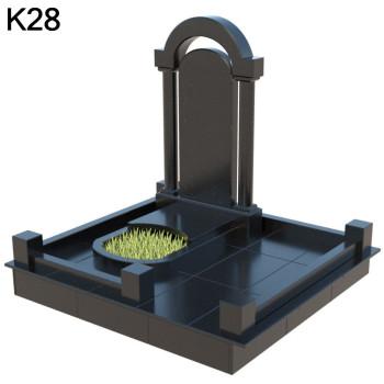Классический мемориальный комплекс с резной Аркой  из  черного карельского гранита  К28