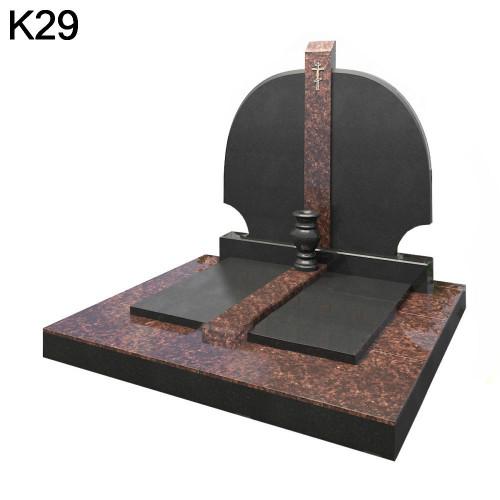 Классический Комбинированный мемориальный комплекс из черного карельского гранита в сочетании с дымовским гранитом К29