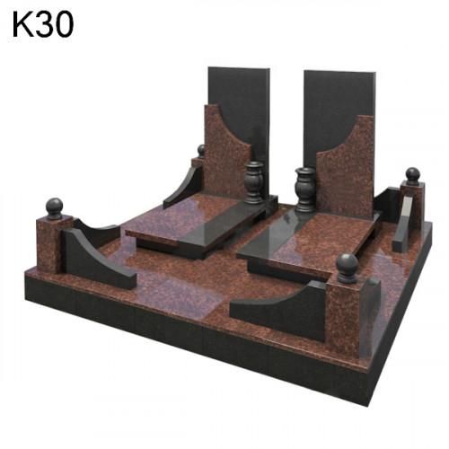 Комбинированный мемориальный комплекс из черного карельского гранита в сочетании с дымовским гранитом К30