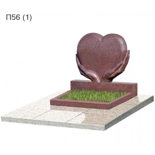 Сердце в руках из красного гранита балморал Ред  горизонтальный памятник П56