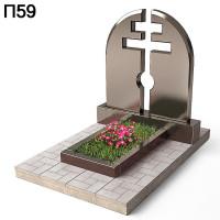 Семейный памятник крест на просвет горизонтальный памятник П59